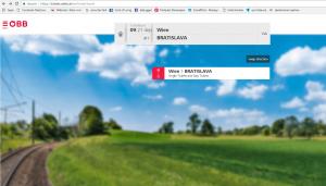 Viena para Bratislava de trem