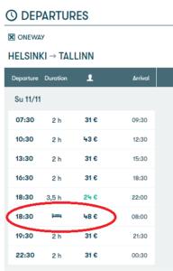 Viagem entre Helsinque e Tallinn de Ferry