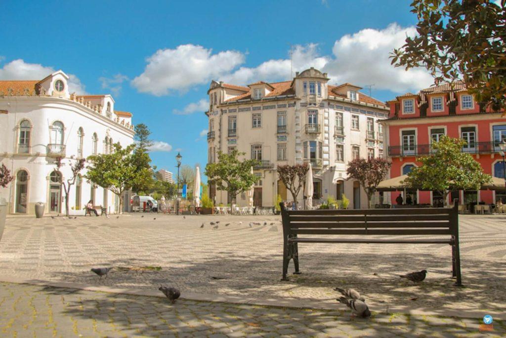 Praça Rodrigues Lobo em Leiria em Portugal