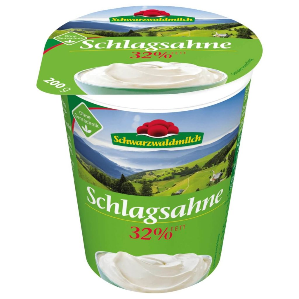 Schlagsahne - Creme de leite na Alemanha